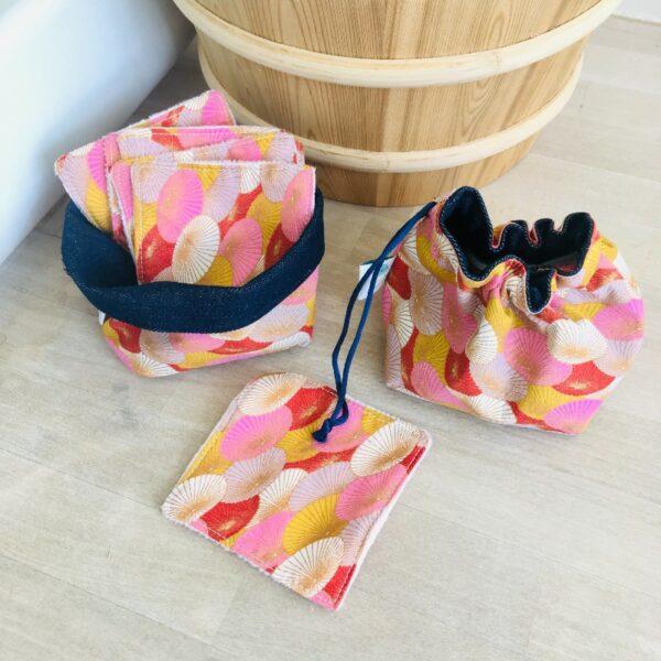 Kit carrés démaquillants panière bourse ombrelles roses