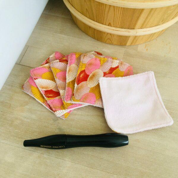 carrés démaquillants lavables ombrelles roses (1)