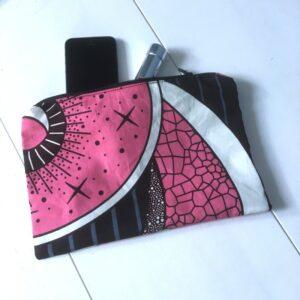 Pochette Wax graphique rose et noir