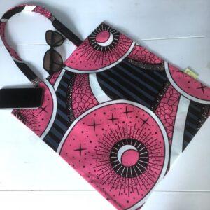 Tote-bag en wax noir, blanc et rose