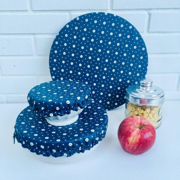 Couvercles alimentaires lavables trois tailles étoiles bleue marine