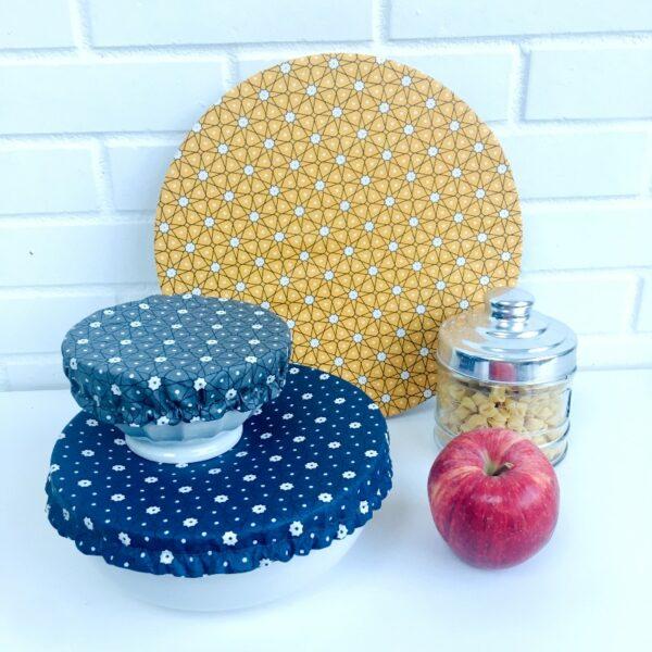 Couvercles alimentaires lavables trois tailles étoiles bleue marine, gris, jaune safran