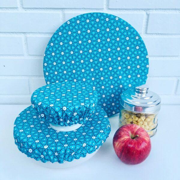 Couvercles aliCouvercles alimentaires lavables trois tailles étoiles bleue turquoise