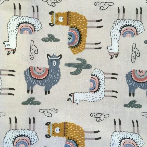motifs lama et cactus, grid blanc moutarde sur fond beige