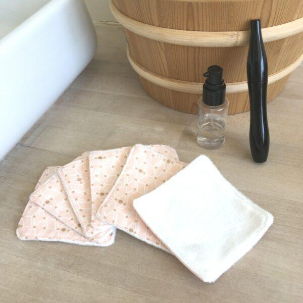 Lot de 6 carrés démaquillants lavables imprimé rose poudré