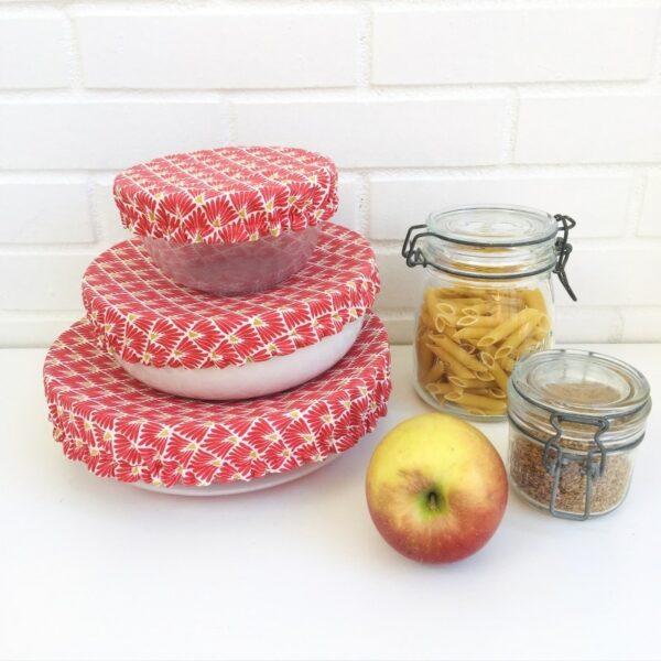 couvercles alimentaires lavables coton enduit petit moyen grand motifs écailles rouges et or