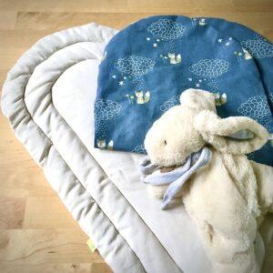 Tonponccino avec housse bleu motifs renard