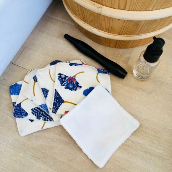 carrés démaquillants lavables ginko blanc