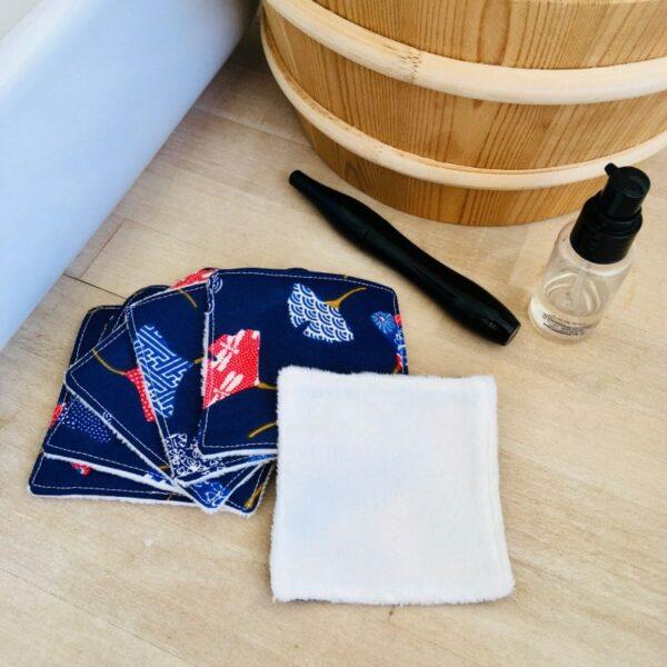 carrés démaquillants lavables ginko bleu et rouge
