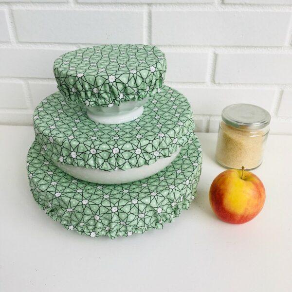 Couvercles alimentaires lavables coton enduit trois tailles etoiles vert celadon