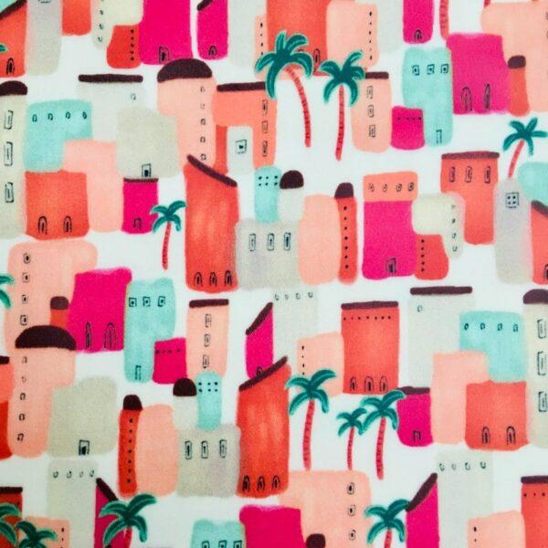 Pochette village africain et palmiers orange, rose, vert, beige